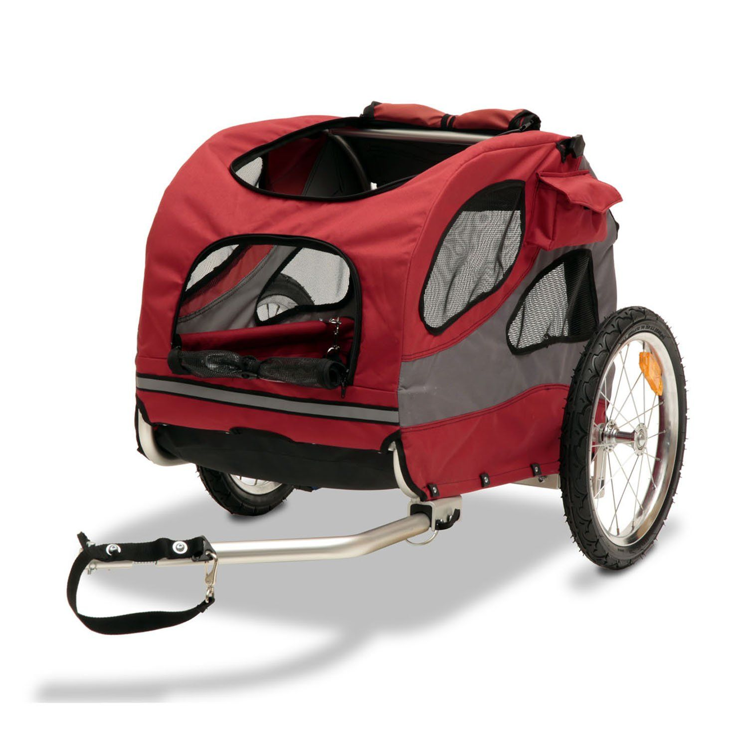 Solvit HoundAbout II Pet Bicycle Trailer, Medium, Red in