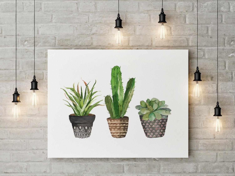 Cactussen Art Print Aquarel Cactus Hand Van SouthPacific Op Etsy