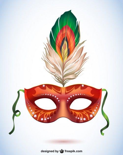 Máscara de carnaval con pluma, formato vectorial Vector Gratis
