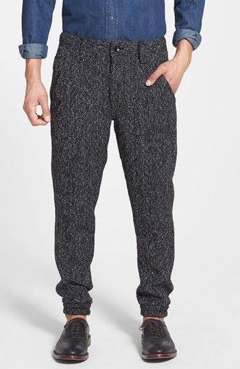 Charcoal Herringbone Wool Dress Pants for Men | Men's Fashion