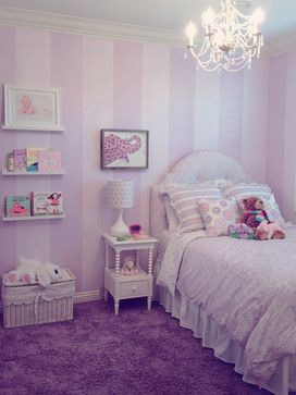 Vertical stripes painted on walls in white purple stripe for Painting stripes on walls in kids room