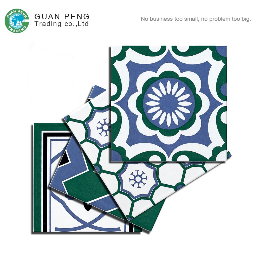 Green bule white color wall ceramic floor tile porcelain 20x20 with green bule white color wall ceramic floor tile porcelain 20x20 with flower design pattern view ceramic tile with flower design guanpeng product details dailygadgetfo Image collections