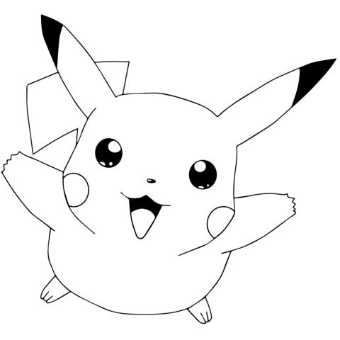 Pokémon go pikachu flying coloring page