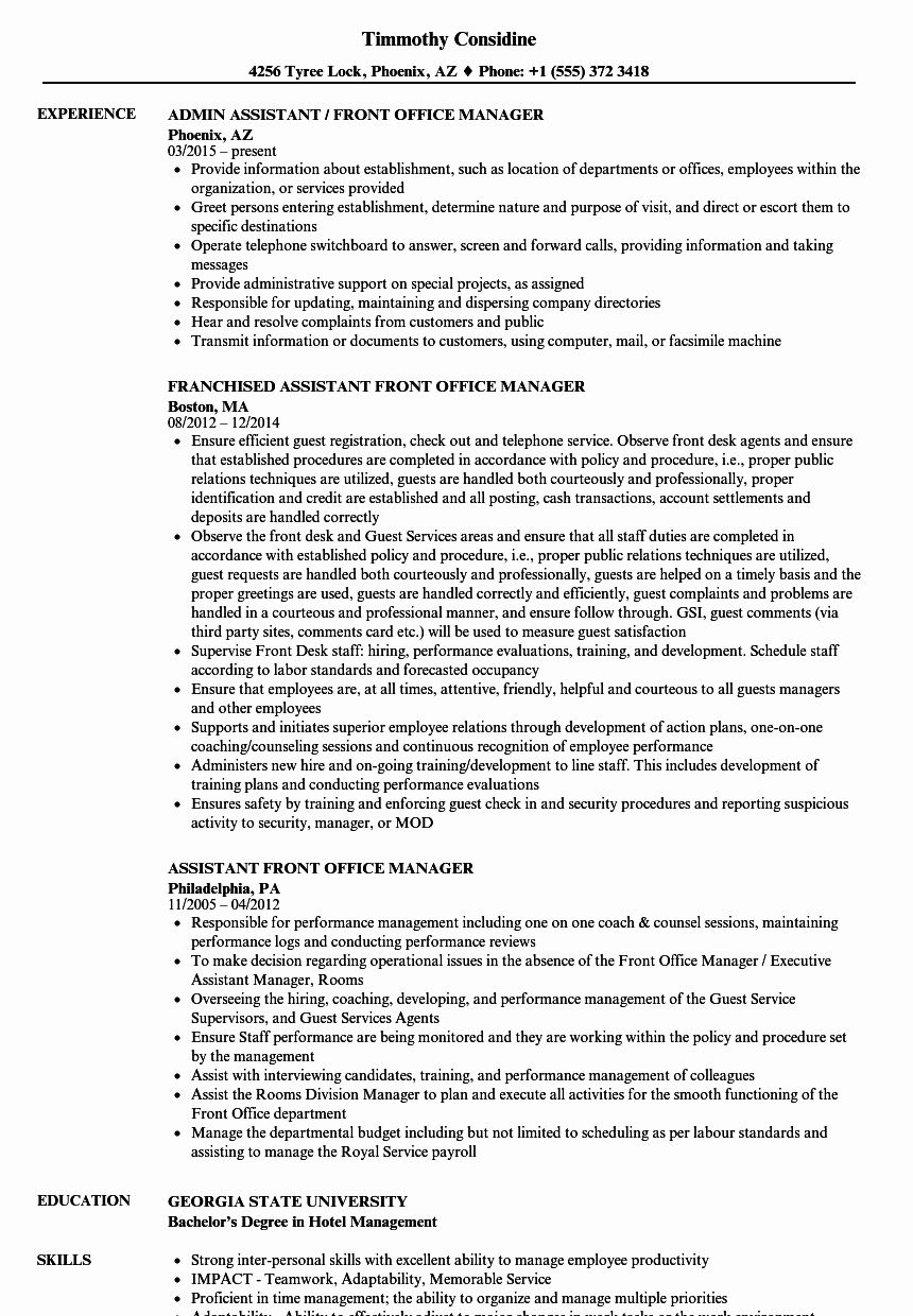 Front Desk Job Description Resume Inspirational 10 Job Description For Fice Manager Office Manager Resume Manager Resume Job Resume Samples