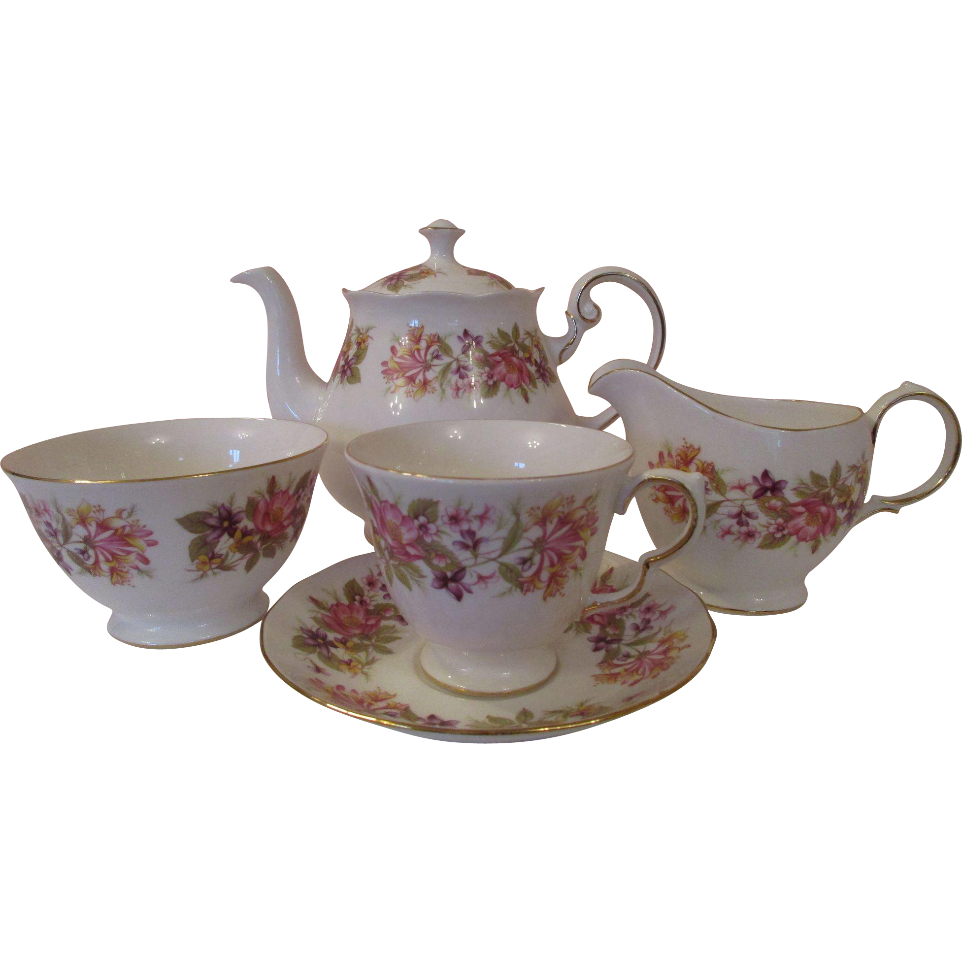 Full English Colclough Bone China Tea Set 34 Pieces Bone China Tea Set Tea Sets Vintage Bone China Tea