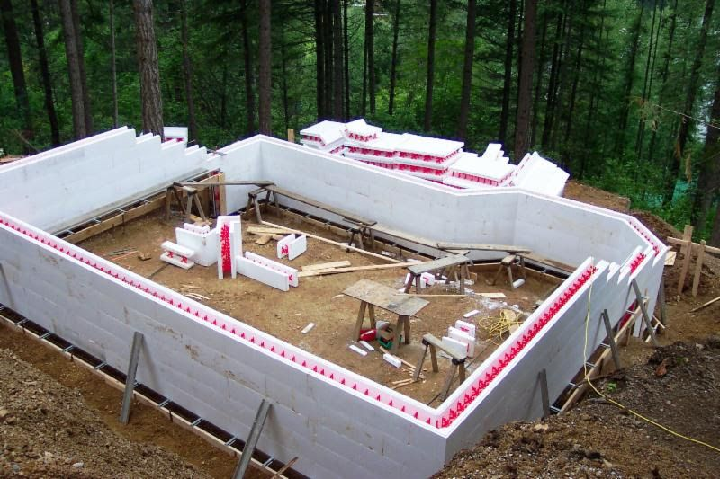 Icf blocks stacked to create the outer shell of this home