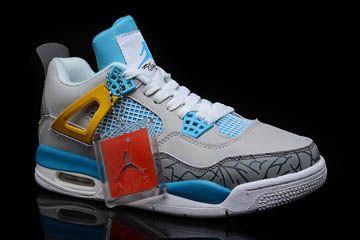 6d27436347d Nike Jordan Retro 4-Men's Shoes(Light Blue/Wolf Grey/Cement Grey/True  Yellow/White)
