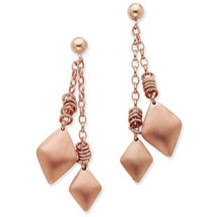 Italian Pink Rose Gold Over Sterling Silver Diamond Shaped Dangle