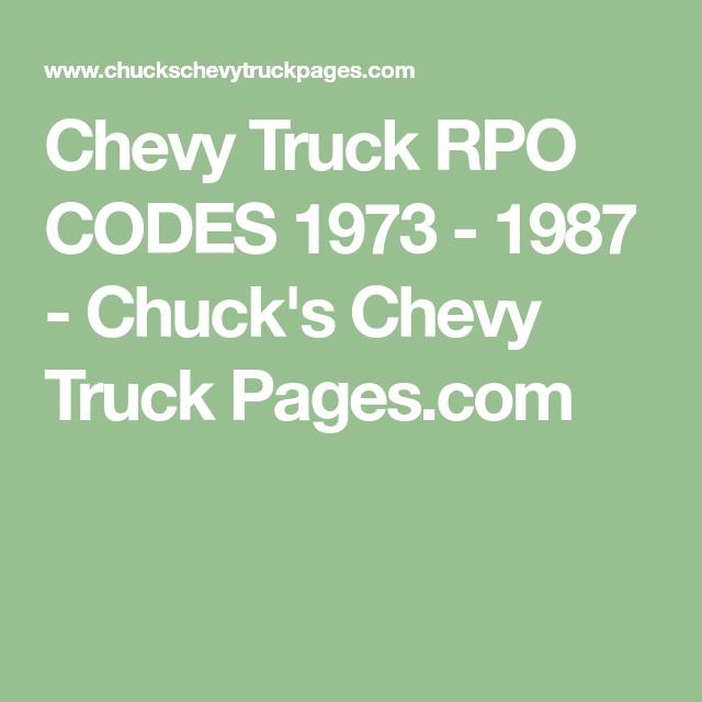 Chevy Truck Rpo Codes 1973 - 1987