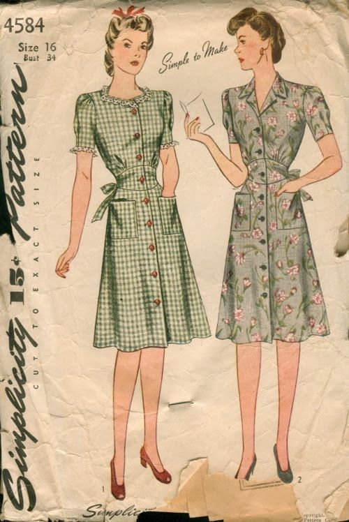 Vintage House Dress Sewing Pattern Simplicity 4584 Vintage Clothes Patterns Vintage Dress Patterns House Dress