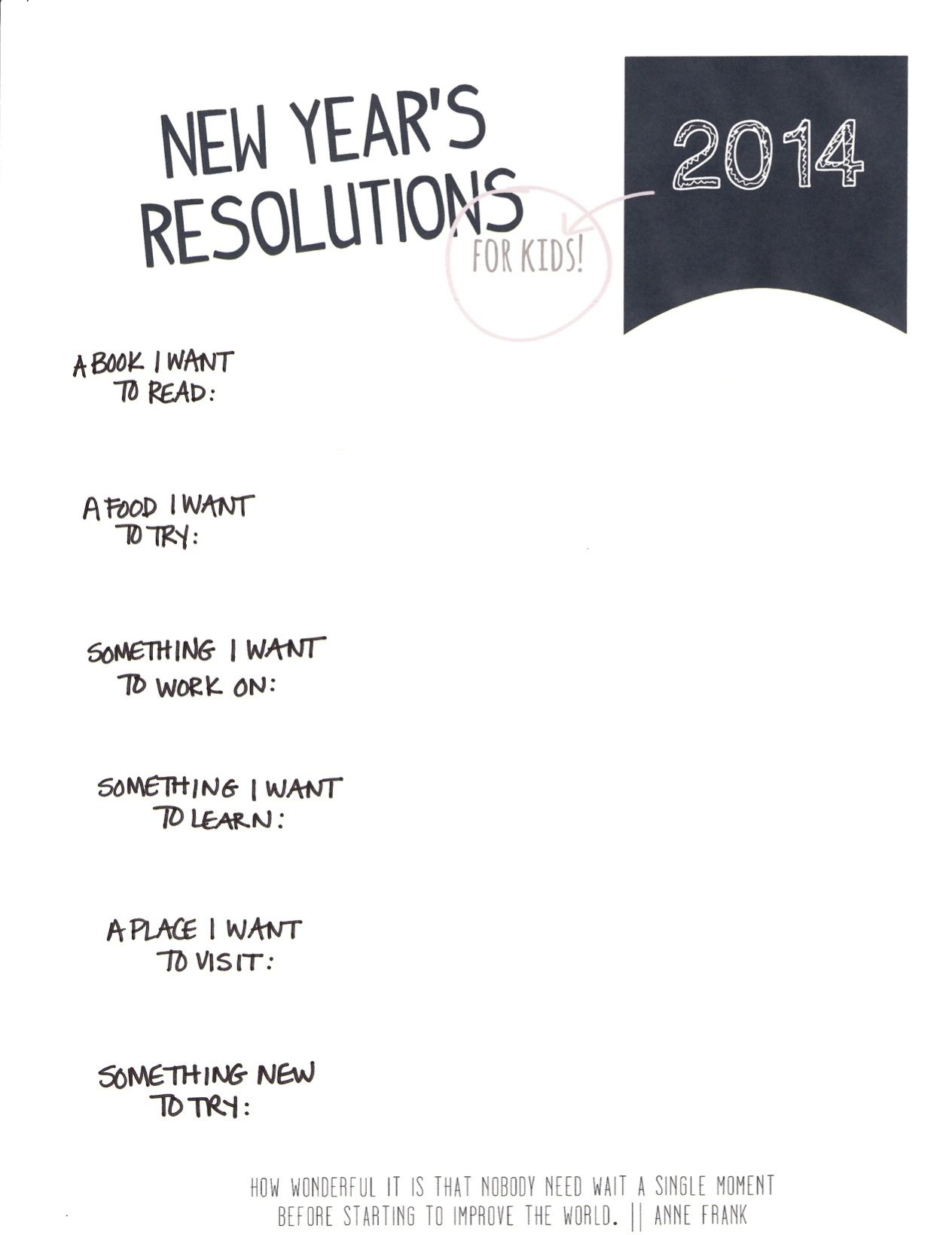 A Printable New Year S Resolutions Sheet For Kids