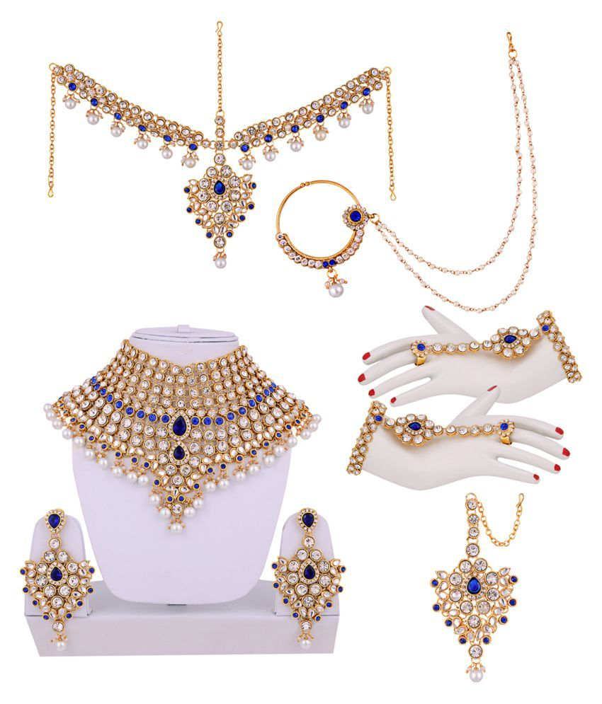 e557a4757 Lucky Jewellery Designer Multicolour CZ Stone With Pearl Alloy Bridal Necklace  Set