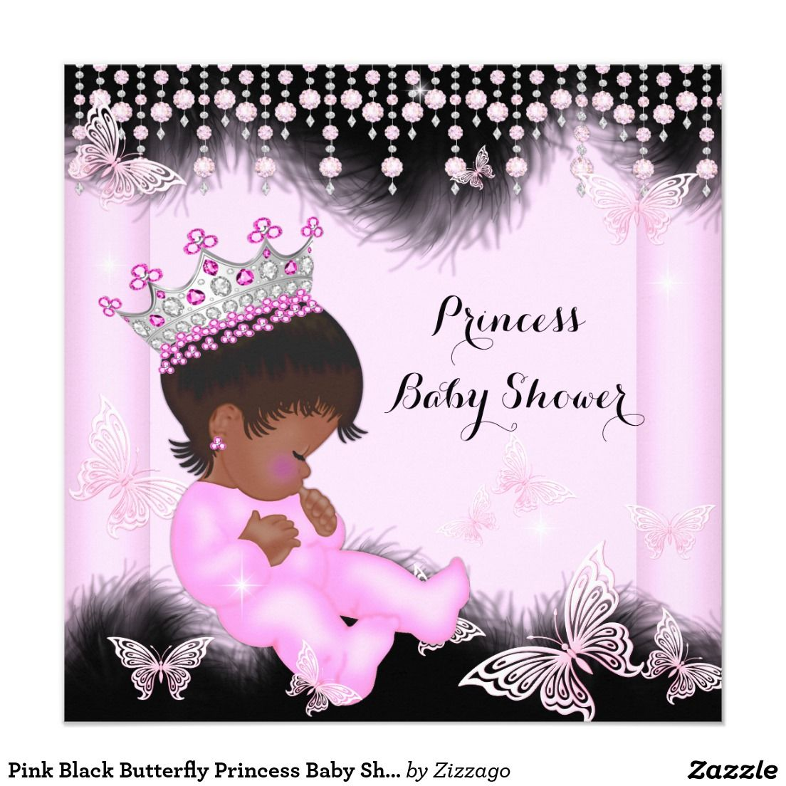 Pink Black Butterfly Princess Baby Shower Ethnic
