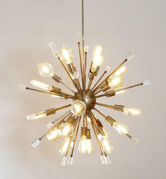 italian starburst modernist sputnik chandelier acrylic - Starburst Chandelier