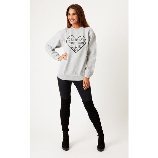Cats got the Cream Oversized 'I Like Cats' Boyfriend Sweater Grey (£34) ❤ liked on Polyvore featuring tops, sweaters, grey, oversized cream sweater, fleece lined sweater, holiday sweater, gray oversized sweater and grey jumper