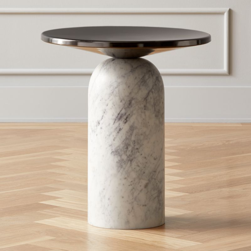 Martini side table with white marble base side table
