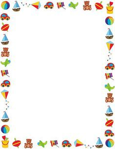 Colorful border on a white background featuring childrens toys