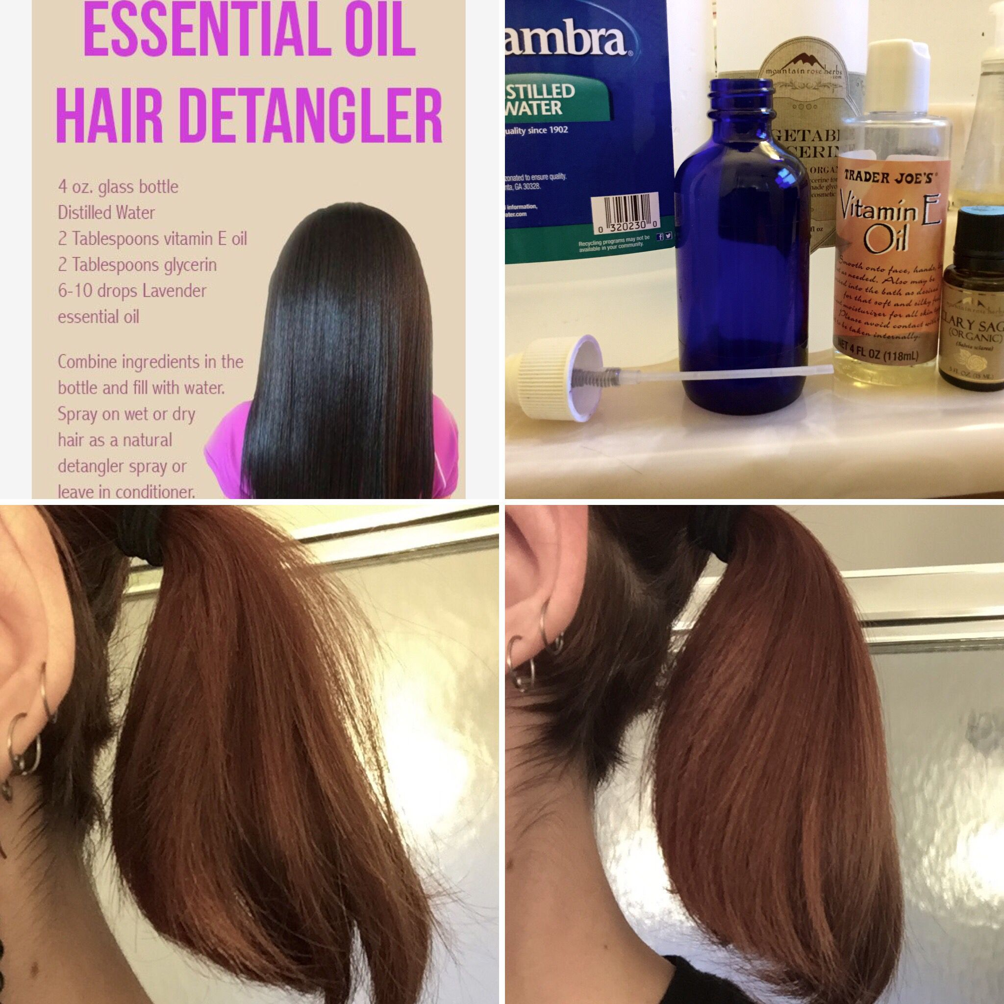 I Try Beauty Diy Hair Detangler Leave In Conditioner With Vitamin E And Glycerin Hair Detangler Diy Hair Detangler Coconut Oil Hair Treatment