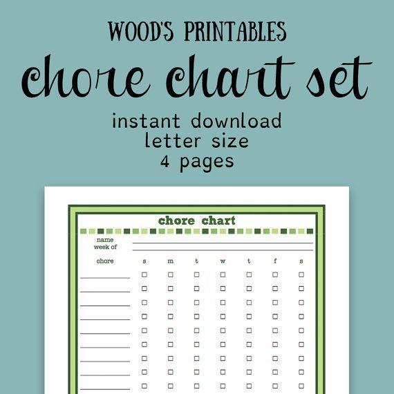 Children's Chore Chart PDF Printable; Family Chore Chart