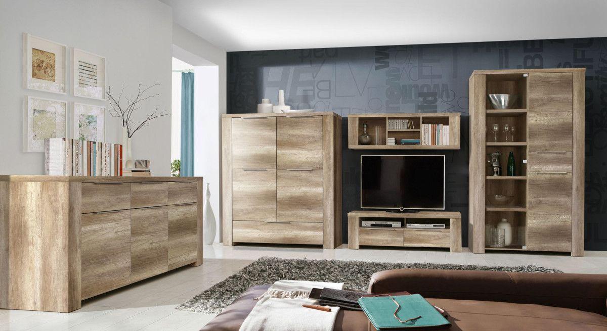 Wohnwand Mit Sideboard Eiche Antik Forte MÖbel Calpe Holz Modern ...