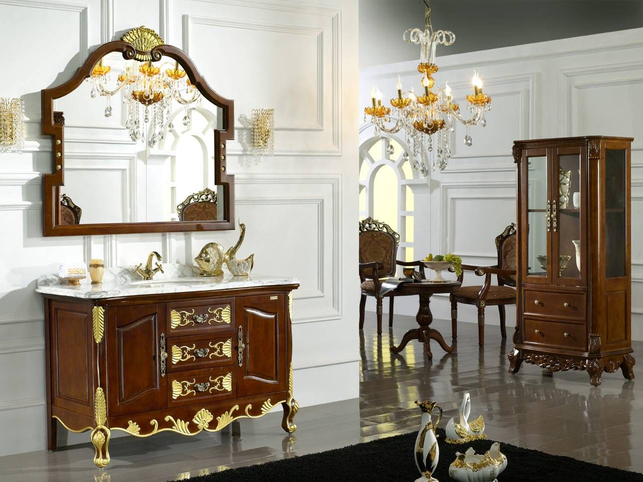 Luxury Bathroom Vanity Units Gilded Mirror Bathroom Vanity Gold Plated Luxury