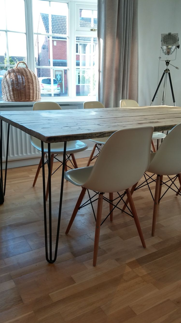 My Own Personal Scaffold Board Hairpin Leg Table So Easy To Do Even For A Novice And So Happy With Th Dining Room Table Hairpin Dining Table Diy Dining Table