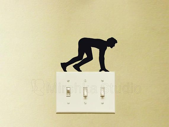 Running Light Switch Fabric Decal - Sports wall Sticker - Sprinter ...