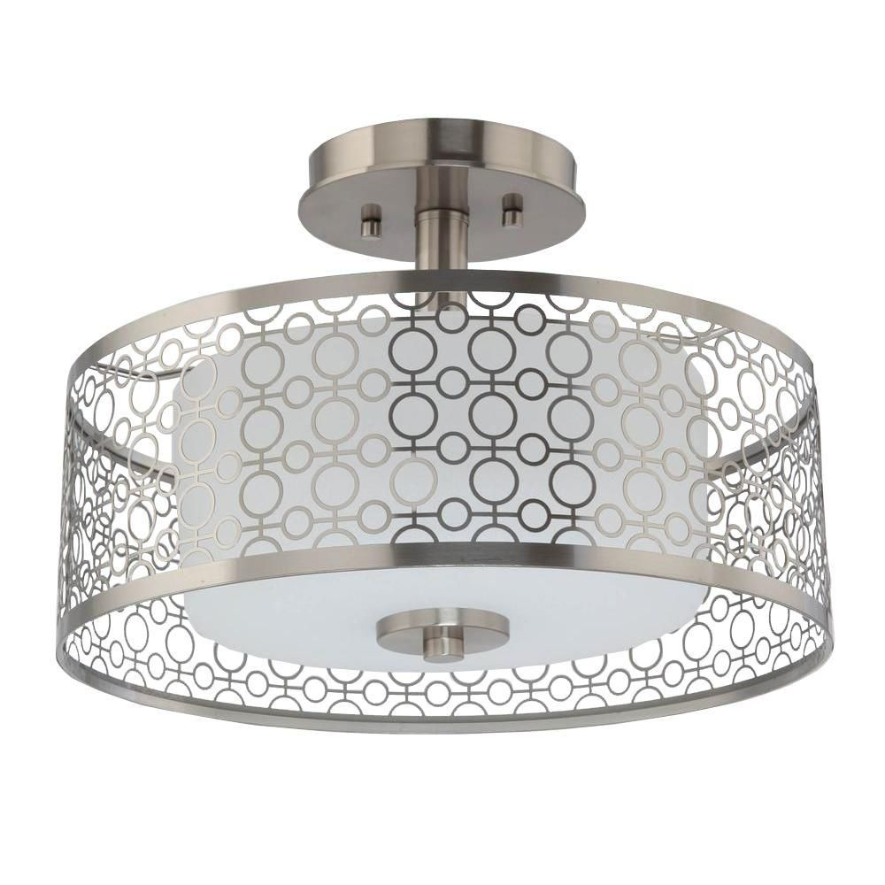 Decorators Collection 1-Light Brushed Nickel LED Semi-Flush Mount Light