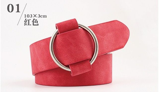Women's pu leather wide belt round metal button needlefree