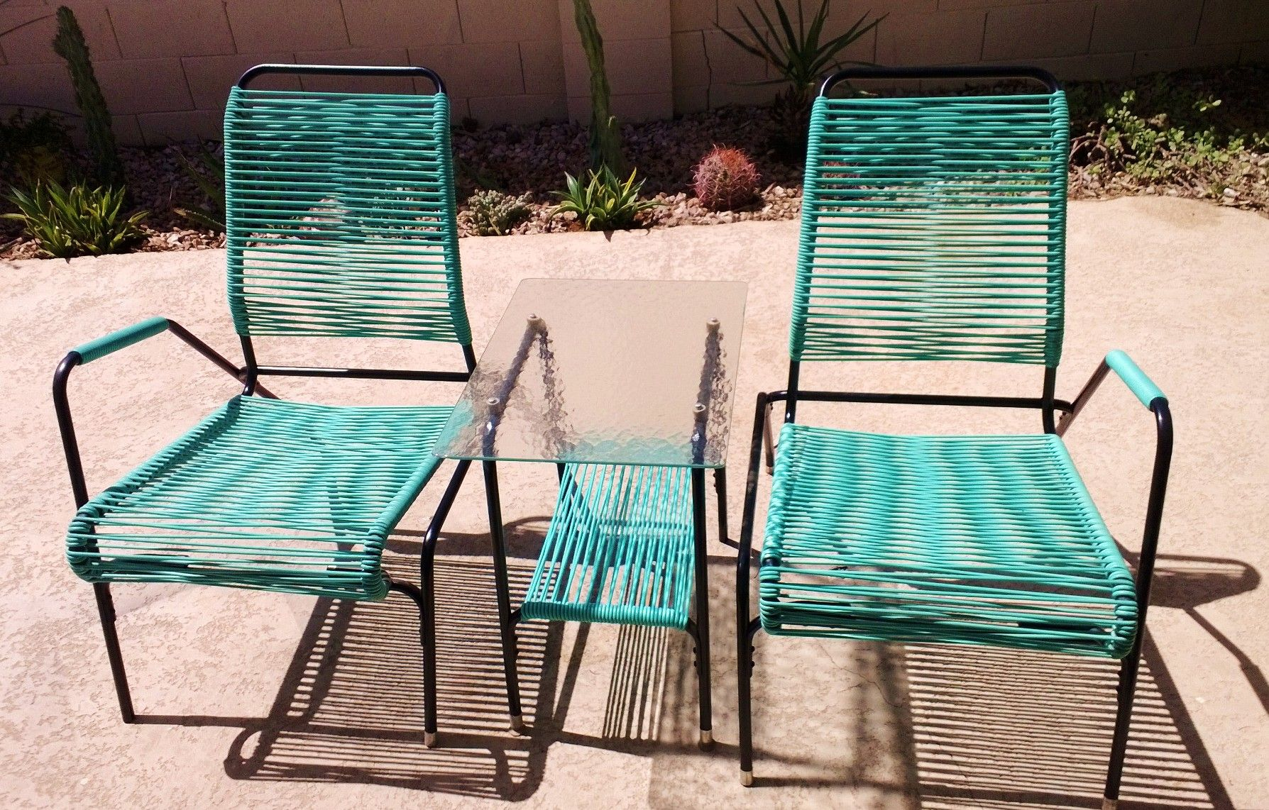 Mid century vinyl cord patio set
