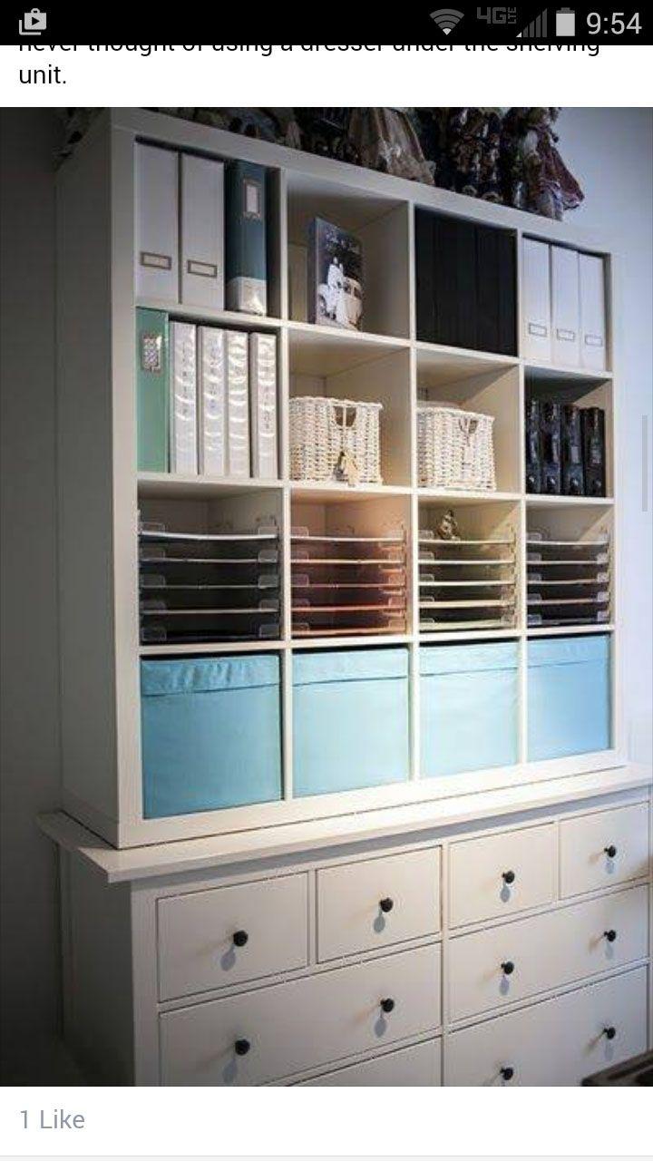 Expedit On Top Of Dresser Craft Room Ideas In 2019 Kallax Shelf