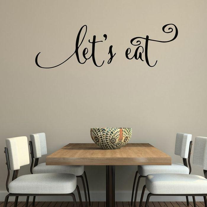 decoracion paredes, idea de vinilo decorativo para el comedor, frase ...