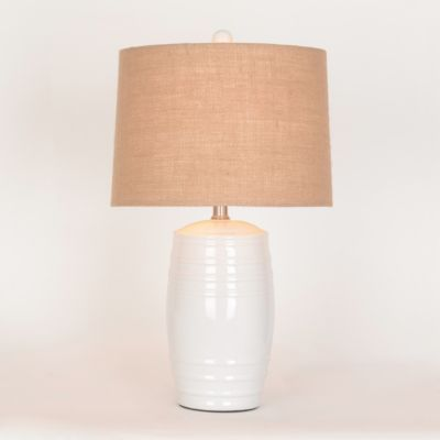 White ceramic barrel table lamp cermica productos y lmparas white ceramic barrel table lamp aloadofball Image collections
