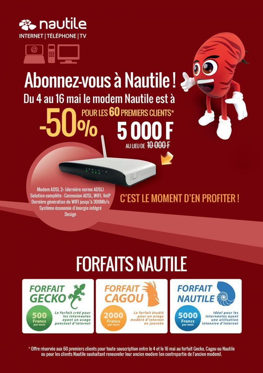 Grâce à Nautile, bénéficiez de votre modem à -50 % du 4 au 16 mai. Plus d'info https://www.nautile.nc/blog/ope-modem