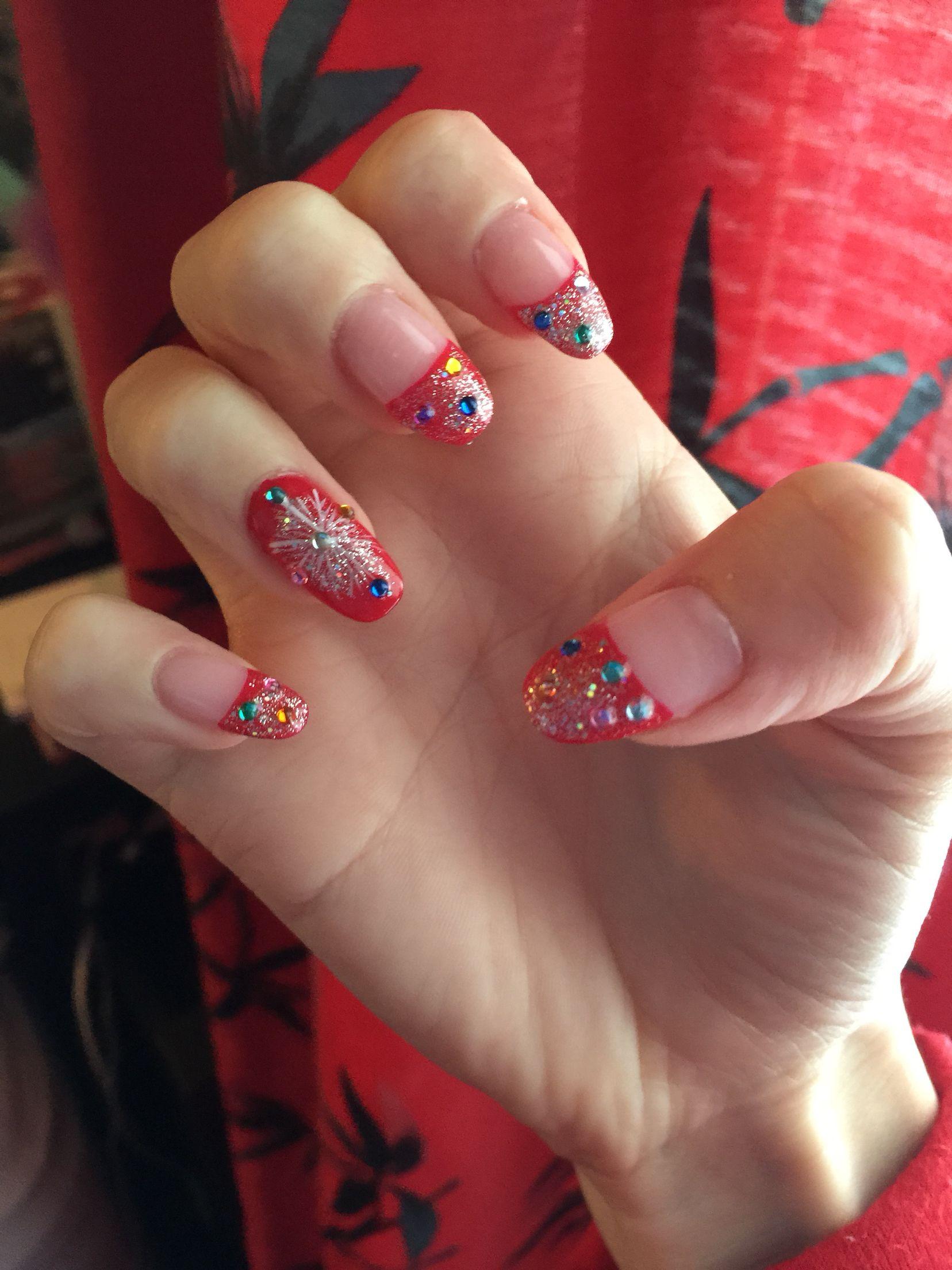 Japanese inspired Christmas nails! Sparkle sparkle