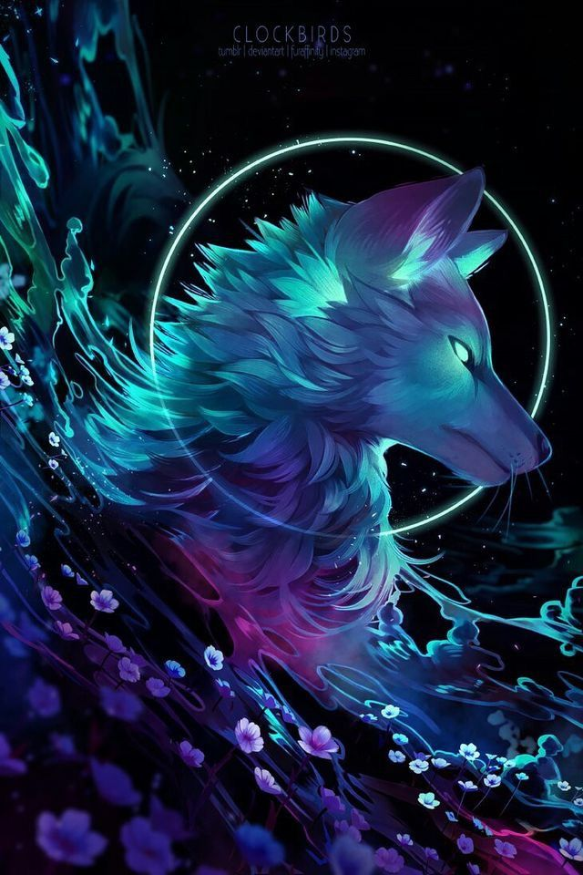 Colorful Wolf in purple and turquoise with flowers ...