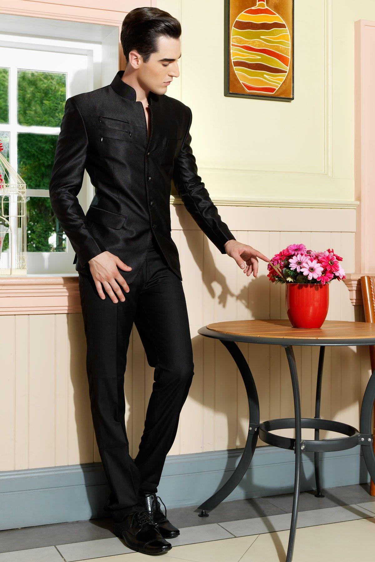 Designer Black Slim Fit Party Wear Italian Suit For Men