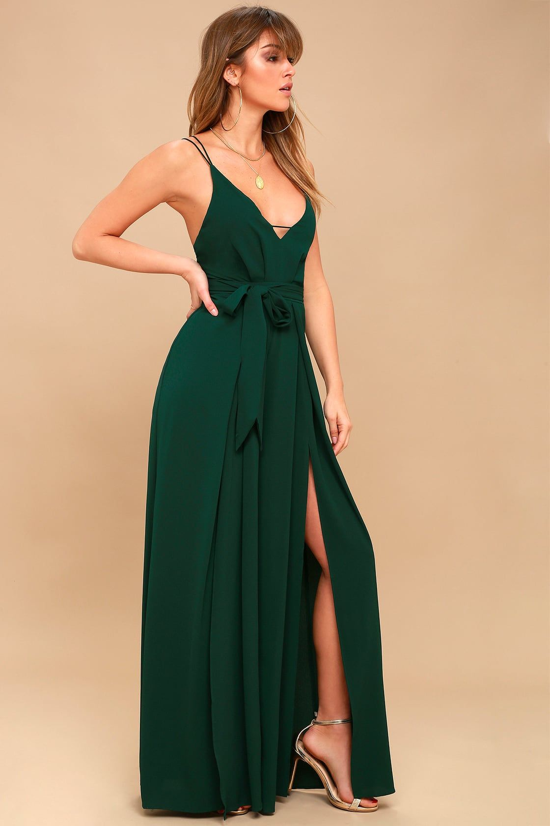 6aad8eabddf1 Hype Dream Forest Green Backless Wide-Leg Jumpsuit