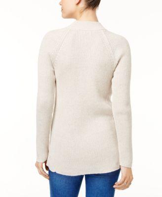 11c7e1878a Style   Co Petite Mock-Neck Lace-Up Sweater
