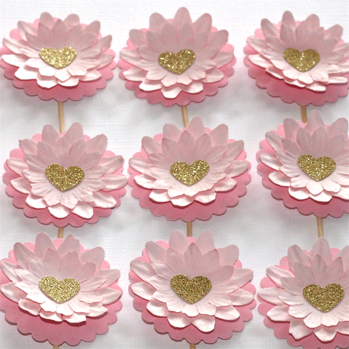 12 Pink Paper Flower Cupcake Toppers With Gold Glitter Hearts