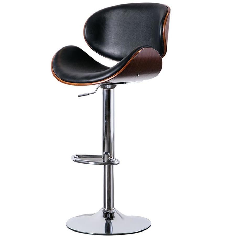 Clihome Black Adjustable Upholstered Swivel Bar Stool Lowes Com Leather Bar Stools Metal Bar Stools Bar Stools