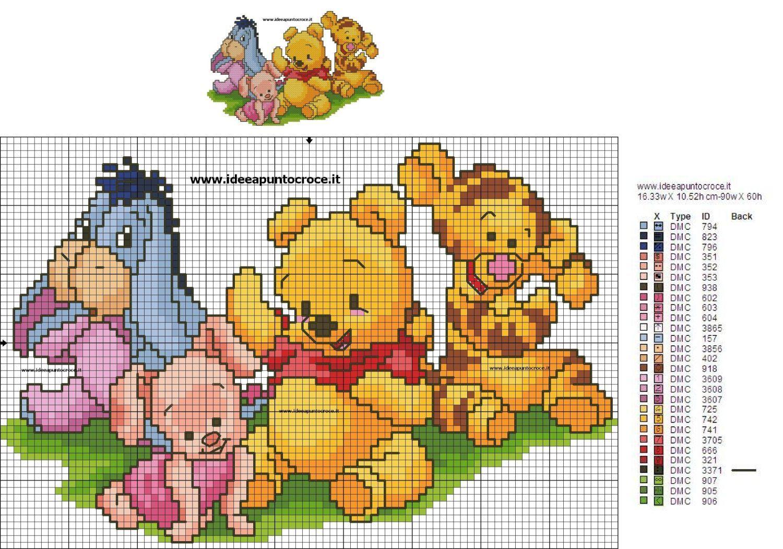 Bordura baby pooh schema punto croce disney puntocroce for Winnie the pooh punto croce