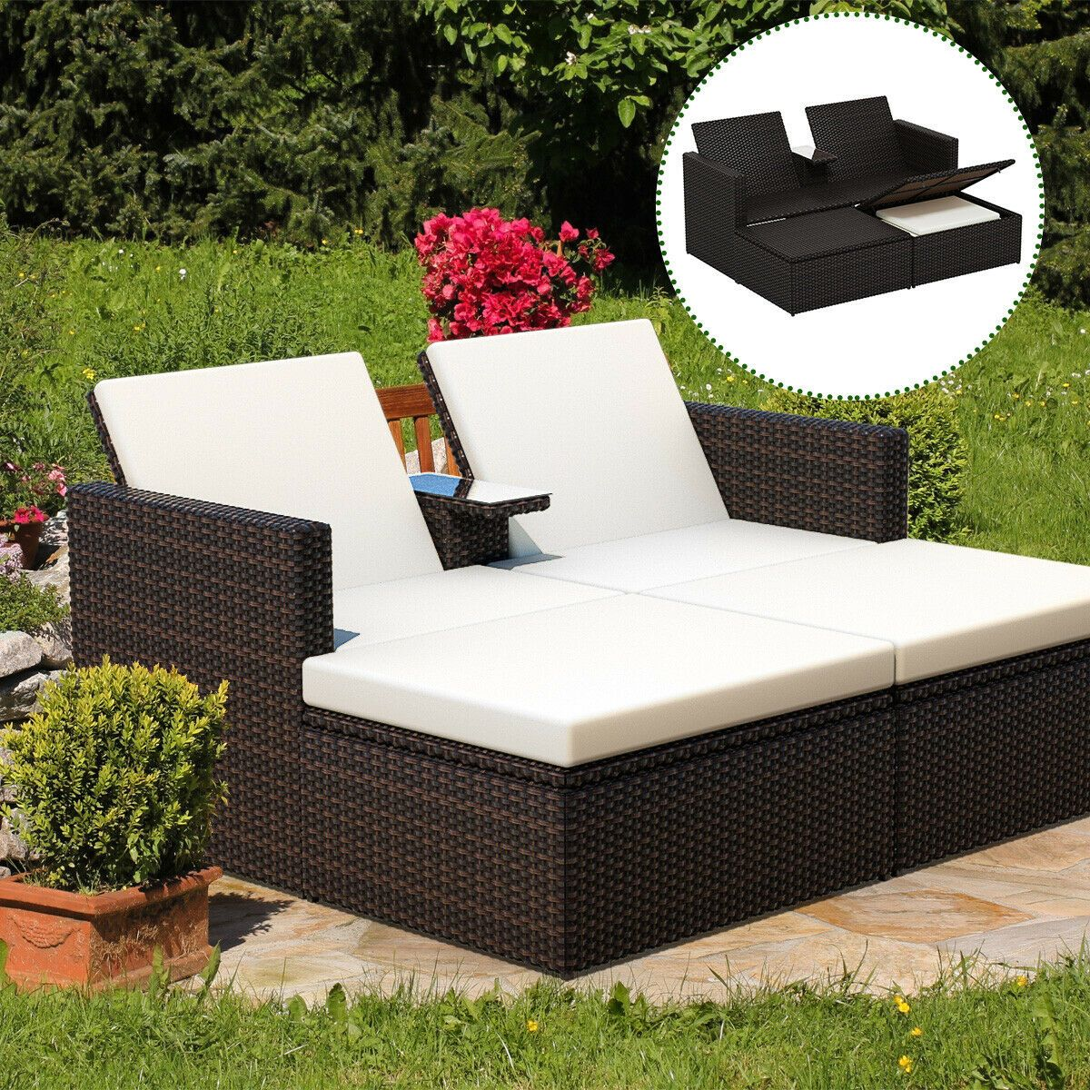 gymax outdoor 3 piece chaise lounge