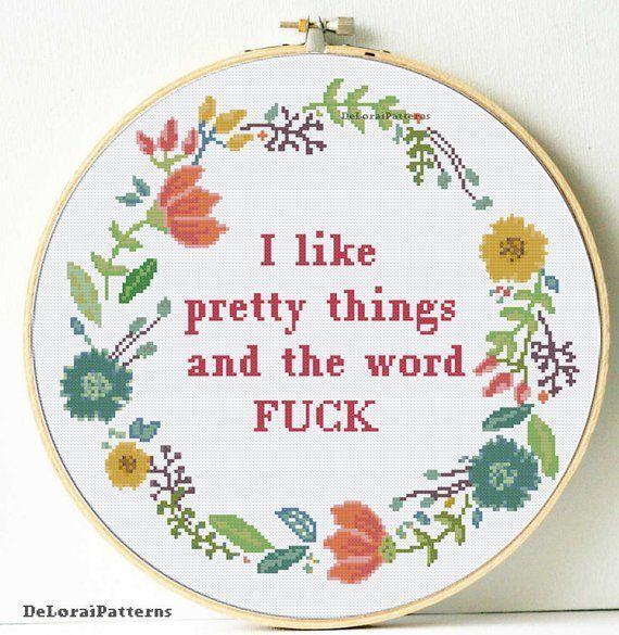 """Photo of Subversive cross stitch pattern, mature cross stitch, rude pattern, """"I like pretty di …"""