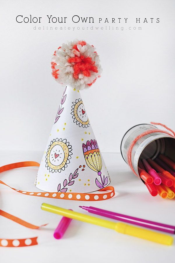 Color Your Own Party Hats  Party Activities Free Printable And