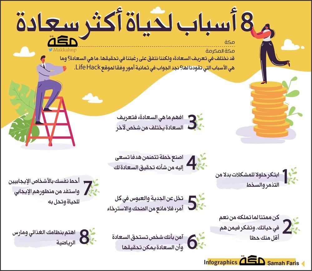 انفوجرافيك 8 أسباب لحياة أكثر سعادة انفوجرافيك السعادة Infographic Happiness صحيفة مكة Life Hacks Life Infographic