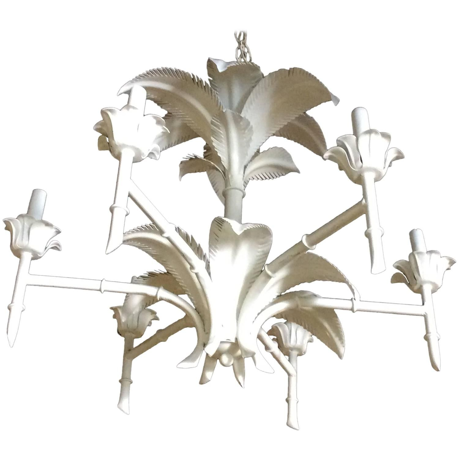 Palm tree frond leaf leaves metal faux bamboo chandelier palm beach palm tree frond leaf leaves metal faux bamboo chandelier palm beach tropical 1stdibs arubaitofo Images