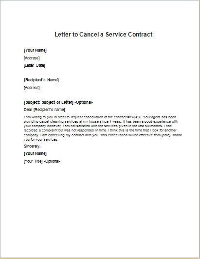 sample letter cancel service