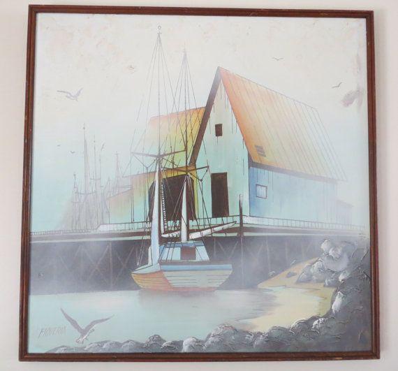 Vintage Coastal Sailboat Docked at Boathouse Pier Framed Canvas Art - Nautical, Mid Century - Large