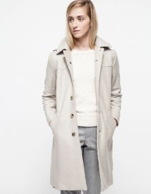 Manteau Claire - From A.P.C., a wool blend coat with a removable hoodie. Features front button closure, angled pockets, belted waistline and a slim fit throughout the body.
